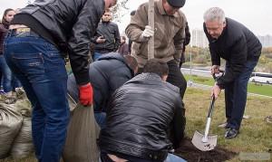 Сергей Собянин посадил деревья вдоль Каширского шоссе