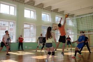 Игра в волейбол в школе