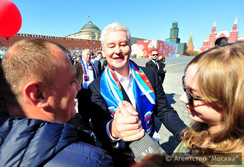 Сергей Собянин присоединился кпервомайской колонне профсоюзов