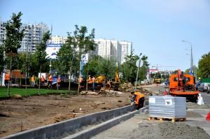 Строительные работы на Варшавском шоссе