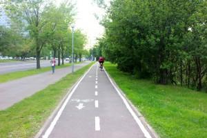 Велосипедная дорожка в одном из парков ЮАО
