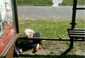 Неубранная территория около остановки общественного транспорта