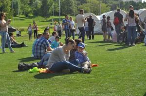 Отдыхающие в парке Южного округа