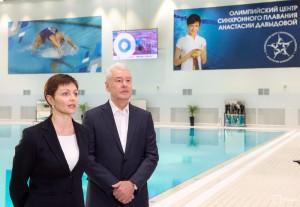 Мэр Москвы Сергей Собянин в Олимпийском центре синхронного плавания