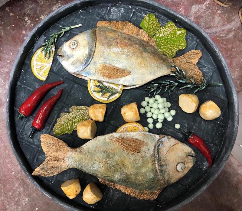 выставка в Царицыне К столу рыба на тарелке