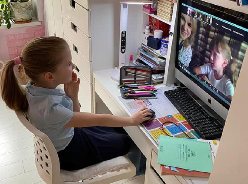 Дистанционное обучение, компьютер, ребенок, школьник